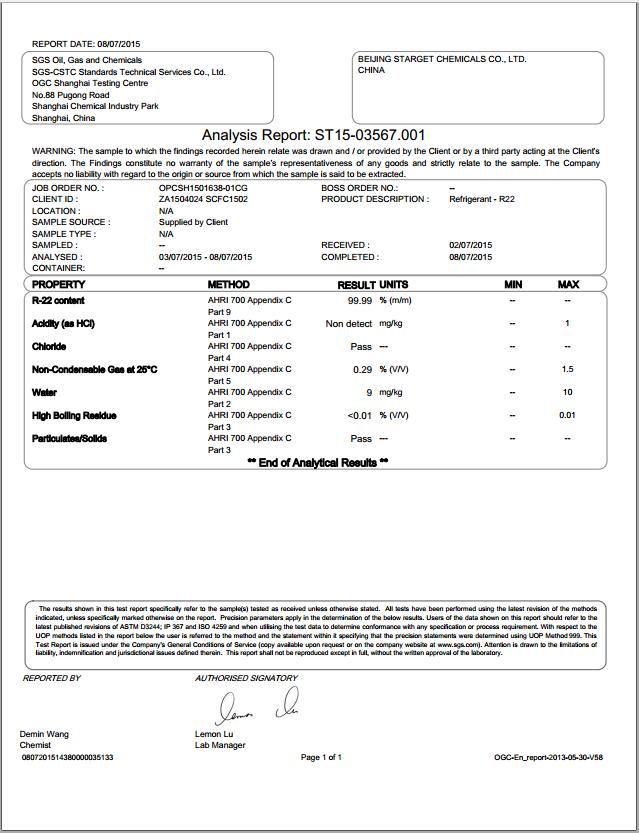 SGS Test > 99.9%